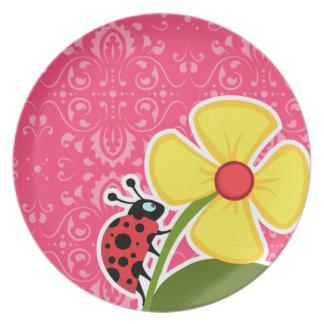 Floral rosado; Mariquita Plato