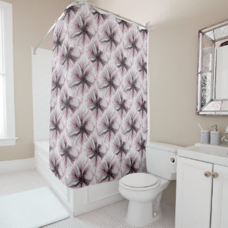 Floral rosado romántico suave cortina de baño