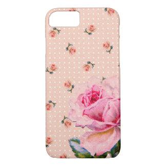 Floral rosado y puntos del vintage funda iPhone 7