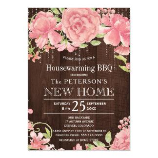 Floral se ruboriza el Bbq rústico del estreno de Invitación 12,7 X 17,8 Cm