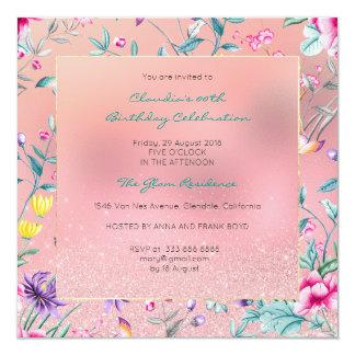 Floral se ruboriza el jardín de cristal color de invitación 13,3 cm x 13,3cm