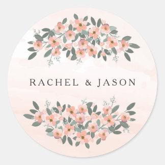 Floral se ruboriza el sello del sobre del boda de