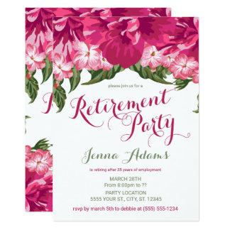 Floral tropical, invitaciones del fiesta de retiro invitación 12,7 x 17,8 cm