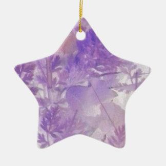 Floral violeta adorno navideño de cerámica en forma de estrella