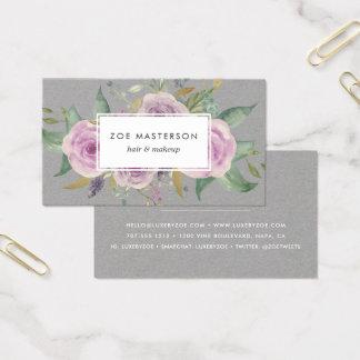 Floral violeta del vintage tarjeta de negocios