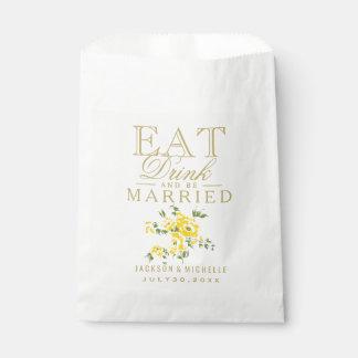 Florales amarillos comen, bebida y estén casados - bolsa de papel