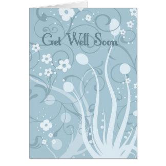 Florales azules consiguen pronto la tarjeta bien