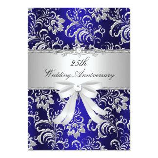 Florales azules y arquean el 25to aniversario de invitación 12,7 x 17,8 cm