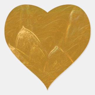 Florales DE ORO de la flor de LOTUS grabados en Pegatina En Forma De Corazón