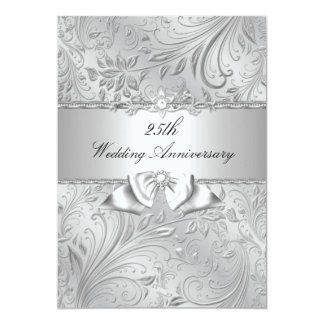 Florales de plata y arquean el 25to aniversario de invitación 12,7 x 17,8 cm
