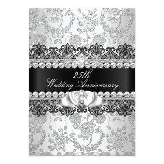 Florales de plata y atan el 25to aniversario de invitación 12,7 x 17,8 cm