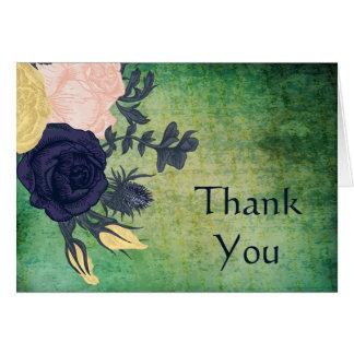 Florales esmeralda rústicos le agradecen las tarjeta pequeña