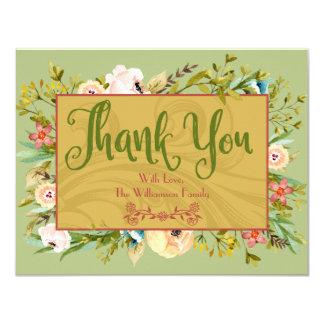 Florales personalizados le agradecen cardar invitación 10,8 x 13,9 cm
