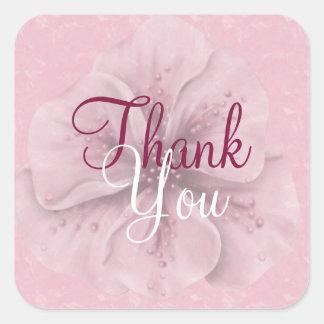 Florales rosados le agradecen pegatina cuadrada