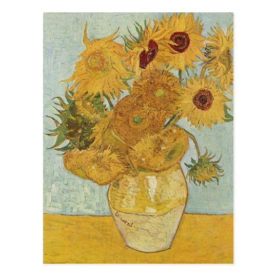 Florero con 12 girasoles - Vincent van Gogh (1888) Postal