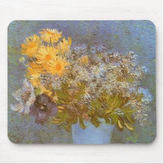 Florero con las lilas y las margaritas de Vincent Alfombrilla De Ratón