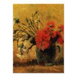 florero con los claveles rojos y blancos, Van Gogh Invitación 13,9 X 19,0 Cm