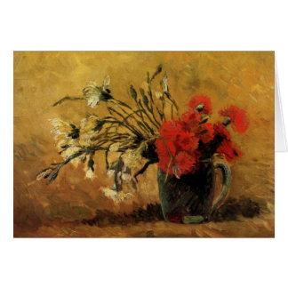 Florero con los claveles rojos y blancos - Van Tarjeta Pequeña