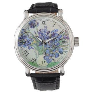 Florero con los iris, bella arte floral de Van Reloj De Mano