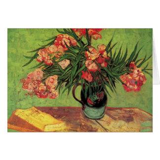 Florero con los Oleanders y los libros de Van Gogh Tarjeta Pequeña