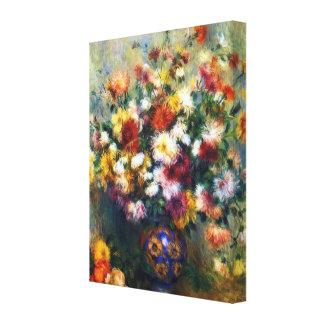 Florero de bella arte de Renoir de los crisantemos