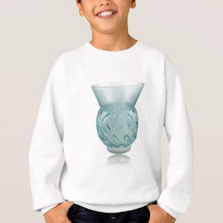 Florero de cristal del art déco azul con diseño sudadera