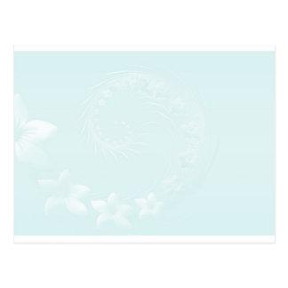 Flores abstractas azules en colores pastel postal