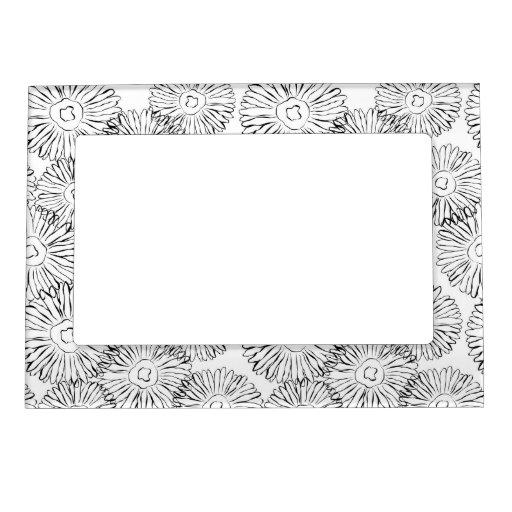 Flores abstractas blancos y negros de la primavera marcos magnéticos para fotos