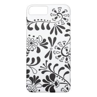 Flores abstractas blancos y negros funda iPhone 7 plus