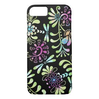 Flores abstractas del verde y del rosa funda iPhone 7