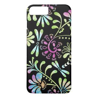 Flores abstractas del verde y del rosa funda iPhone 7 plus