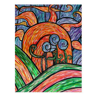 Flores abstractas en postal colorida del arte de l
