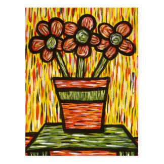 Flores abstractas en postal colorida del arte del