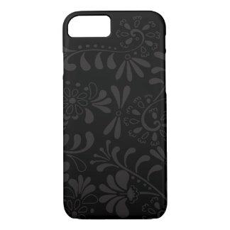 Flores abstractas negras funda iPhone 7