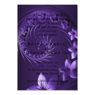 Flores abstractas violetas oscuras invitación 8,9 x 12,7 cm
