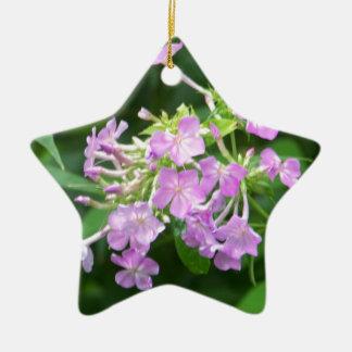 Flores ahumadas de la montaña adorno navideño de cerámica en forma de estrella