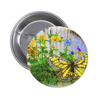 Flores amarillas de la mariposa y de la viola chapa redonda 5 cm