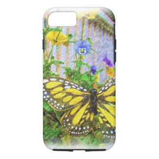 Flores amarillas de la mariposa y de la viola funda iPhone 7
