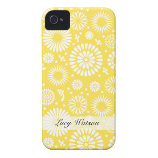 Flores amarillas del vintage iPhone 4 Case-Mate coberturas