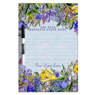 Flores amarillas púrpuras del vintage de los pizarra blanca