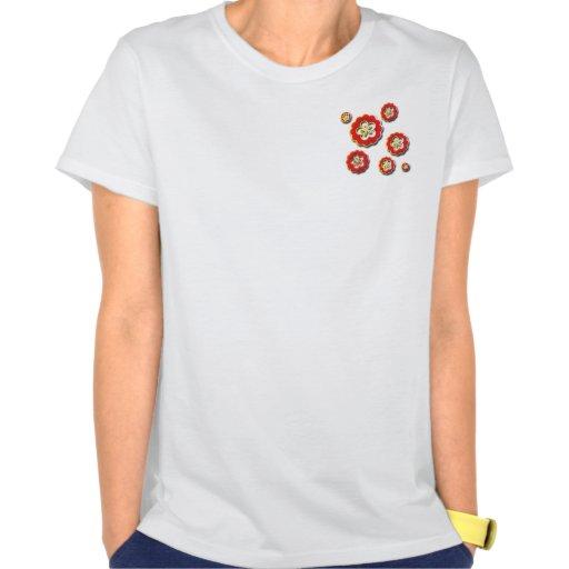 flores amarillas rojas 3D Camiseta