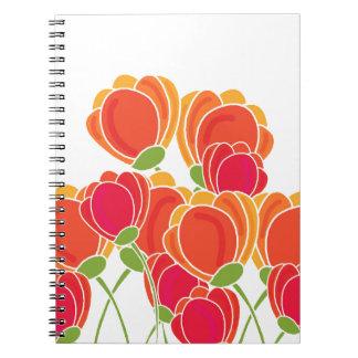 Flores anaranjadas libro de apuntes con espiral