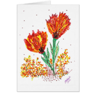 Flores anaranjadas tarjeta de felicitación