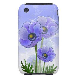 Flores azules de la anémona iPhone 3 tough carcasa