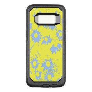 Flores azules del cono con el fondo amarillo funda commuter de OtterBox para samsung galaxy s8