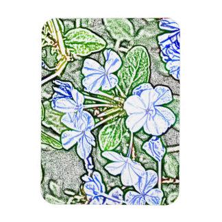flores azules en la planta verde del grafito del b imán de vinilo