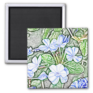 flores azules en la planta verde del grafito del imán