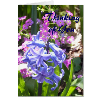 Flores azules que piensan en usted tarjeta de felicitación
