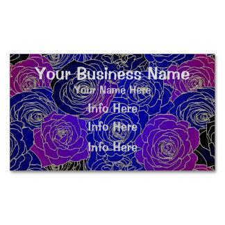 Flores azules y púrpuras tarjeta de visita magnética