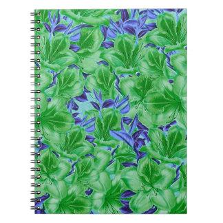 Flores azulverdes vibrantes del vintage cuaderno